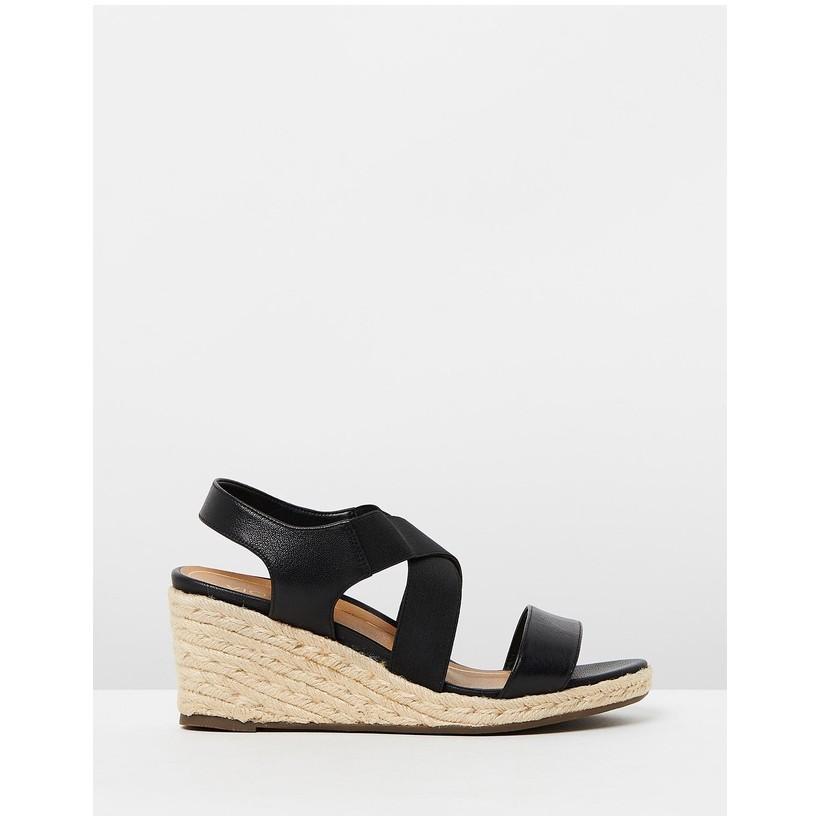 Ainsleigh Wedge Sandals Black by Vionic
