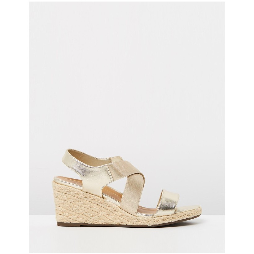 Ainsleigh Wedge Sandals Champagne by Vionic