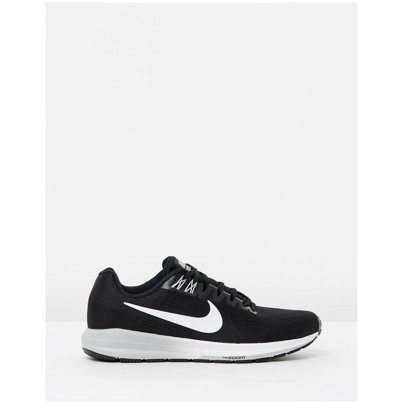 Air Zoom Structure 21 Running Shoes - Women's Black, White & Grey by Nike