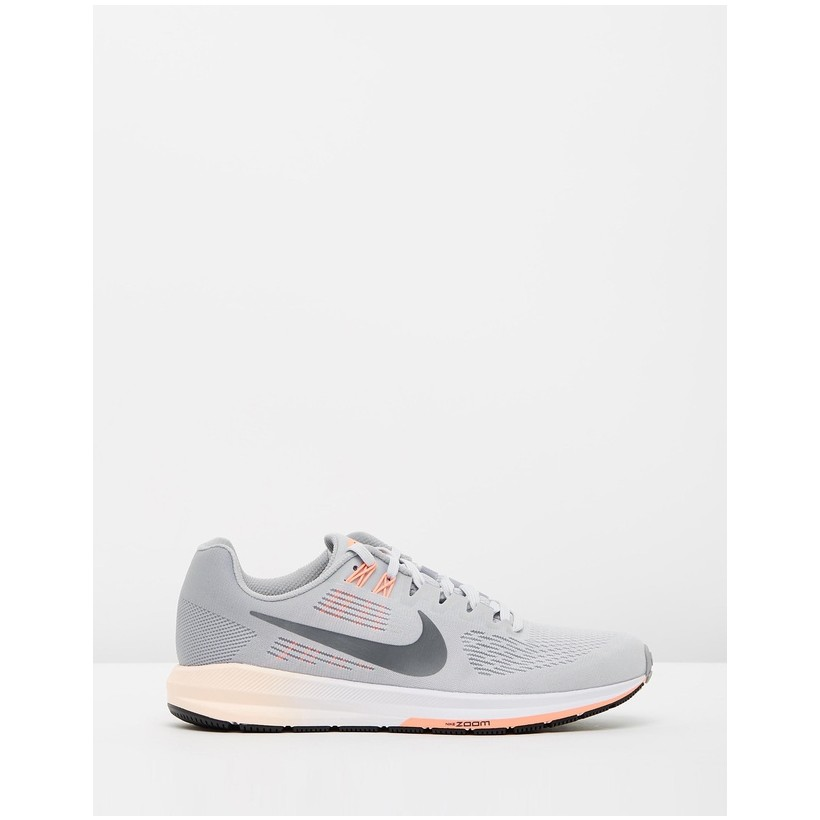 Air Zoom Structure 21 Running Shoes - Women's Wolf Grey, Dark Grey, Pure Platinum & Crimson Pulse by Nike