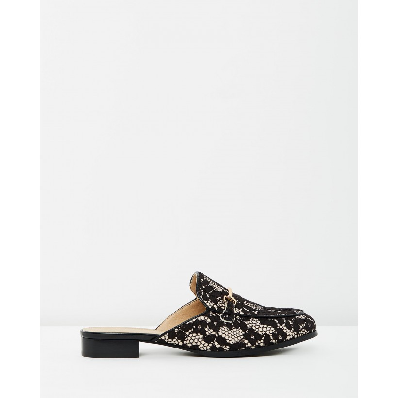 Alanza Loafer Mules Black Lace by Atmos&Here
