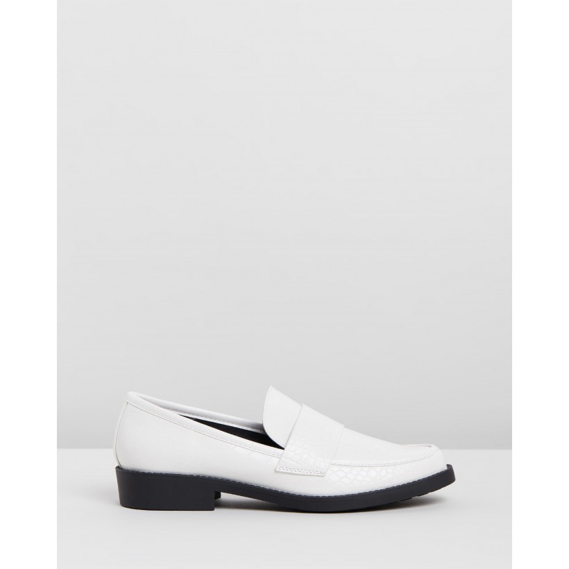 Alexa Loafers White Croc Smooth by Spurr