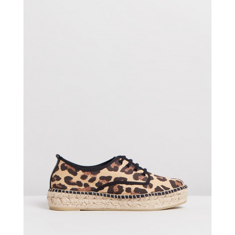 Alfie Lace Up Platform Espadrille Sneakers Leopard by Loeffler Randall
