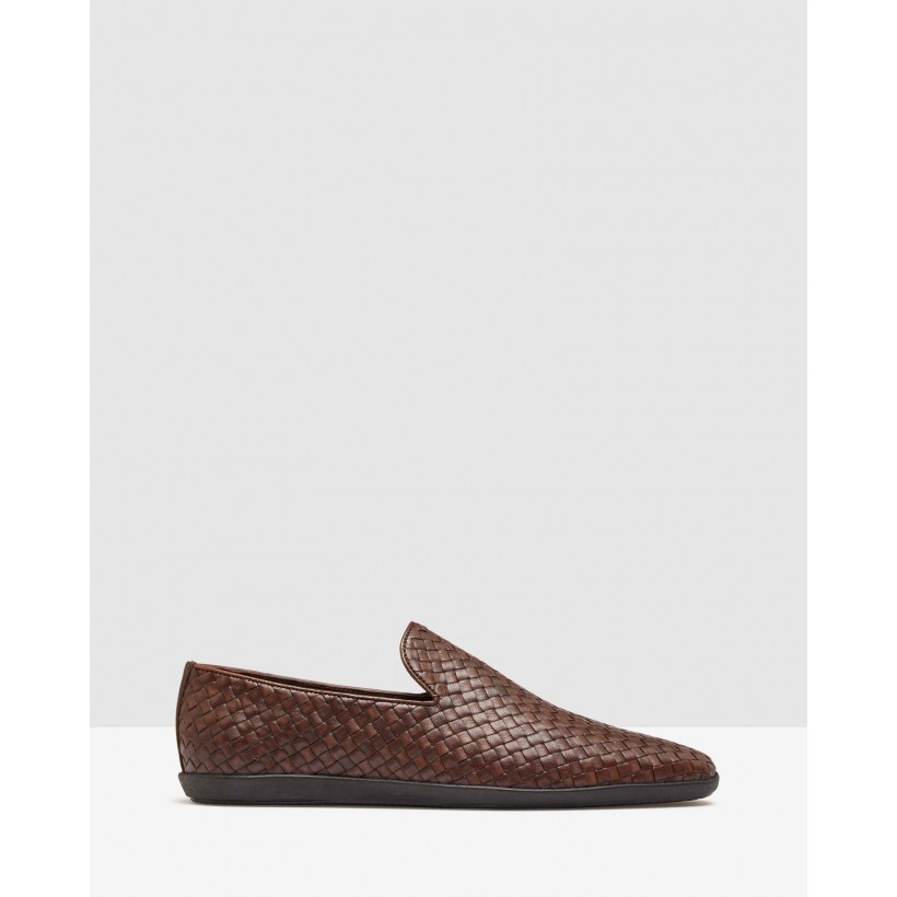Alfonce Woven Loafer Shoes Dark Brown by Oxford