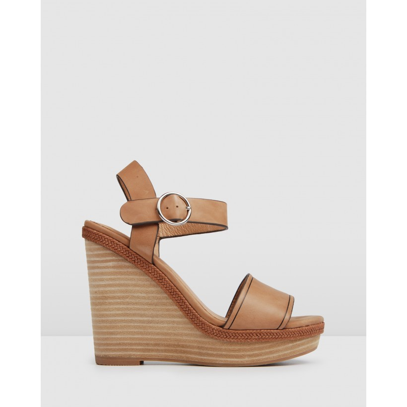 Allude High Wedge Sandals Tan Leather by Jo Mercer