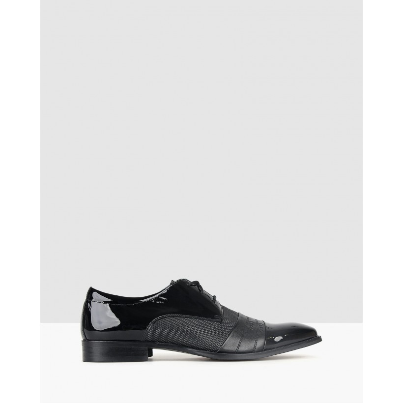 Alpha Leather Dress Shoes Black by Zu
