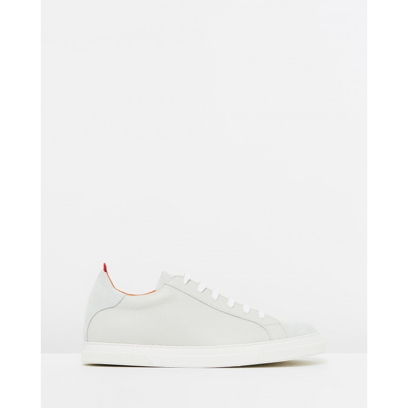 Ambleside Low Top Sneakers White Pebble Leather by Oliver Spencer