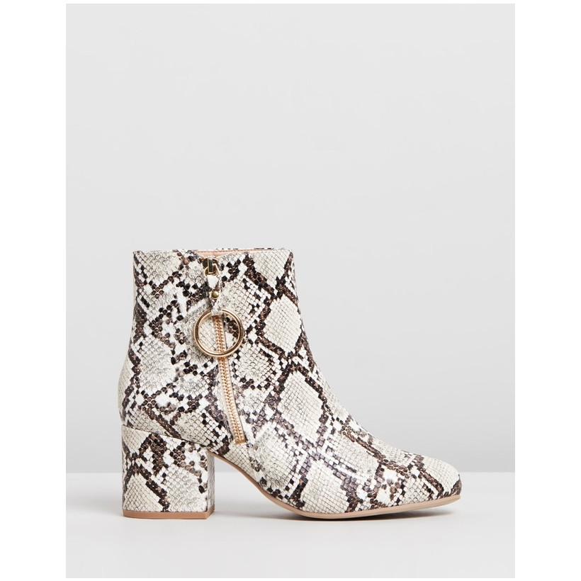 Amelie Zip Boots - Wide Fit Animal by Dorothy Perkins