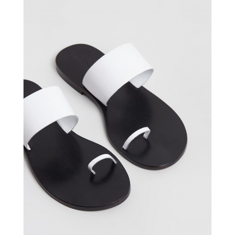 Anais Leather Slides White Leather by Atmos&Here