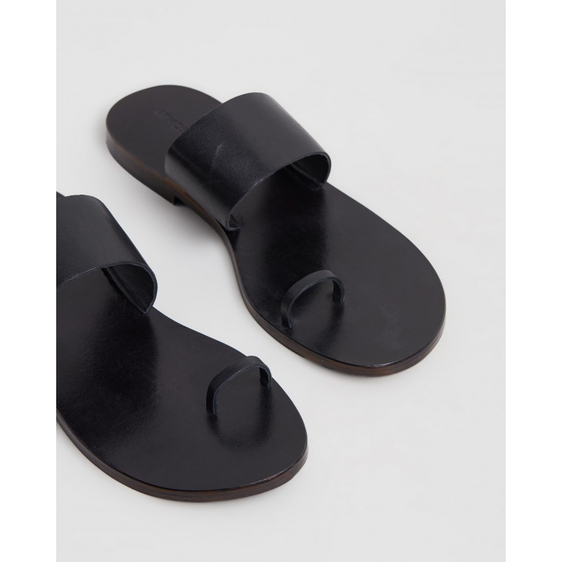 Anais Leather Slides Black Leather by Atmos&Here