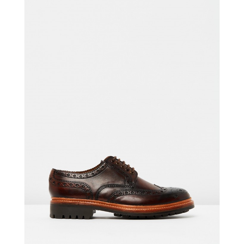 Archie Commando Dark Brown Hand Painted Calf by Grenson