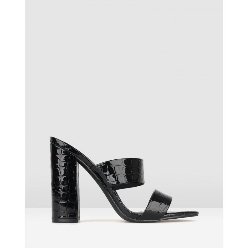 Ari Block Heel Mules Black Croc by Zu