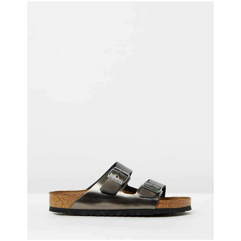 Arizona Regular SFB Leather Metallic Anthracite by Birkenstock