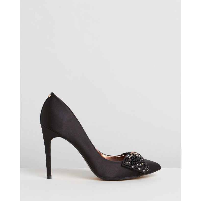 Aselly Pumps Black Satin & Pink Blossom Satin by Ted Baker
