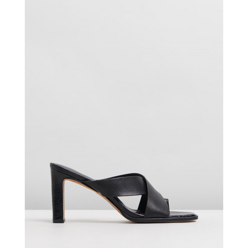 Asta High Sandals Black Leather by Jo Mercer