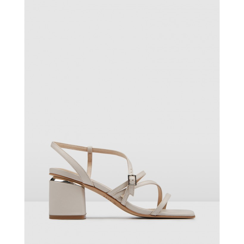 Astrid Mid Heel Sandals Bone Leather by Jo Mercer