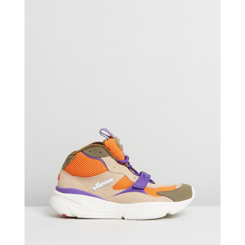 Aurano Mid - Men's Light Khaki, Orange & Purple by Ellesse