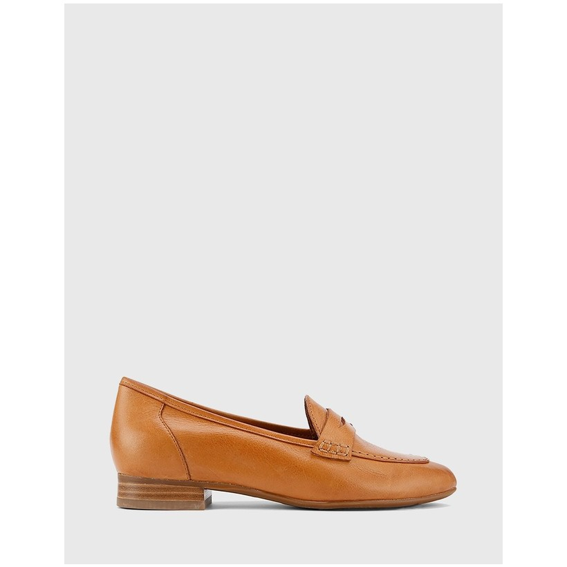 Austin Block Heel Penny Loafers Tan by Wittner