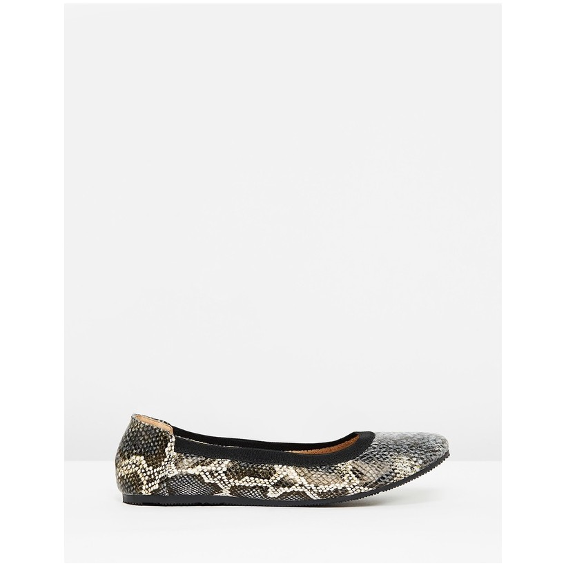 Ava Leather Snake Ballet Flats Ink by Walnut Melbourne