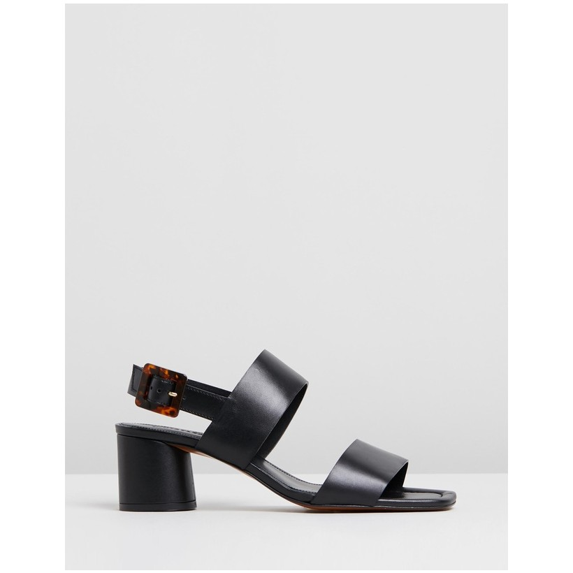 Avery Tort Buckle Sandals Black by Whistles