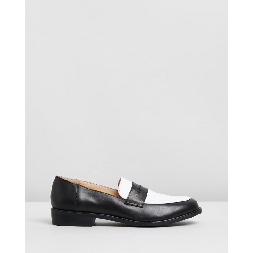 Babba Leather Loafers Black & White Leather by Atmos&Here