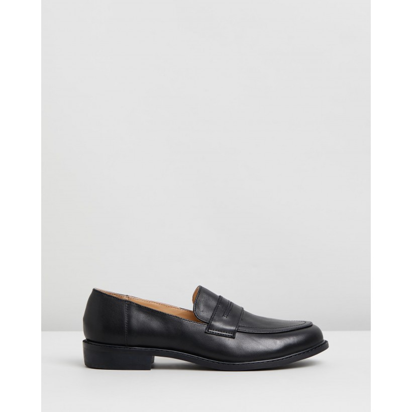 Babba Leather Loafers Black Polished Leather by Atmos&Here