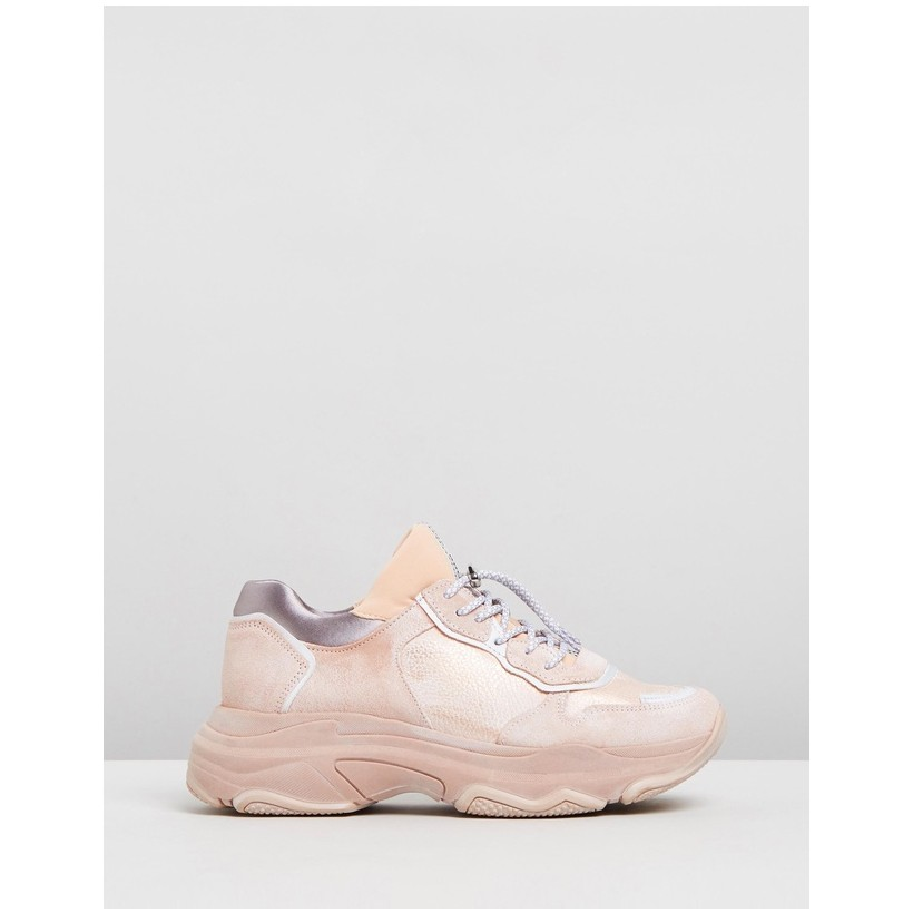 Baisley Leather Sneakers Nude by Bronx