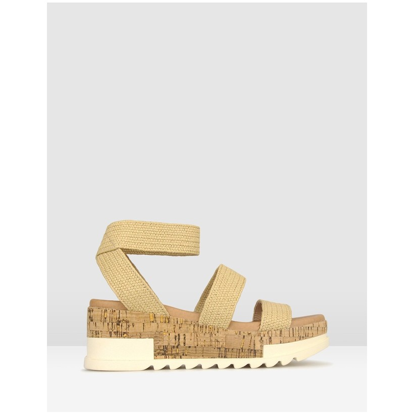 Bandit Cork Wedge Sandals Natural by Betts