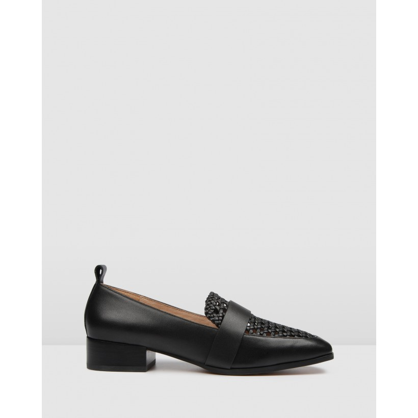 Banner Loafers Black Leather by Jo Mercer