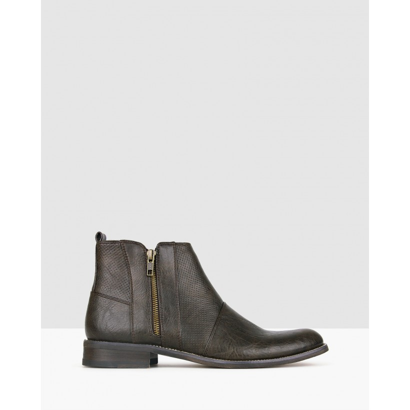 Base Zip-Up Ankle Boots Chocolate by Betts