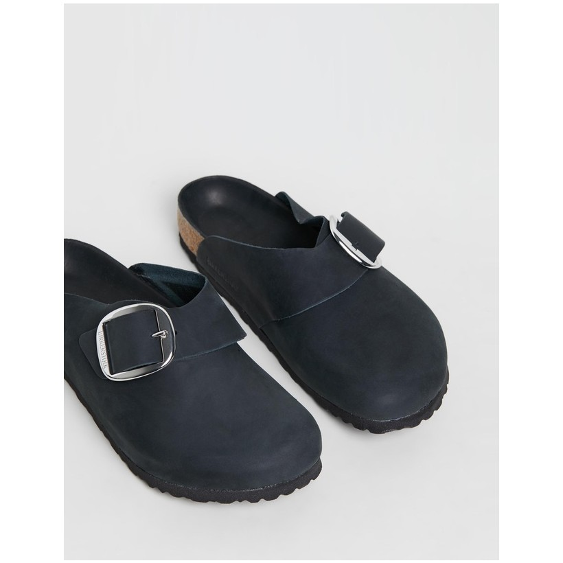 Basel Big Buckle Regular - Women's Oiled Leather Black by Birkenstock