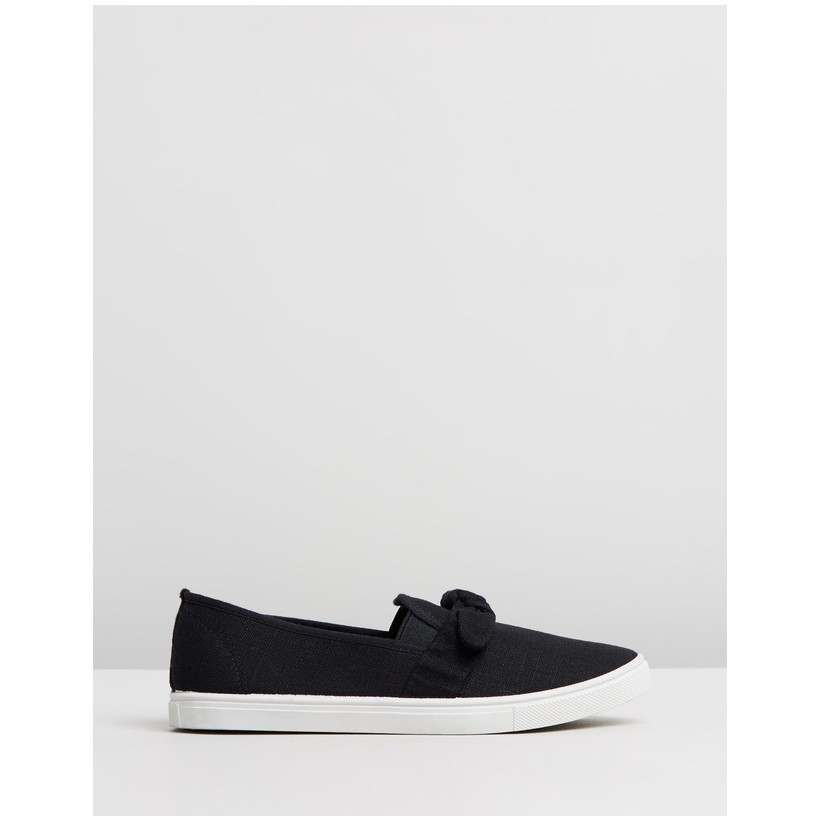 Belle Bow Slip-On Shoes Black Woven by Rubi