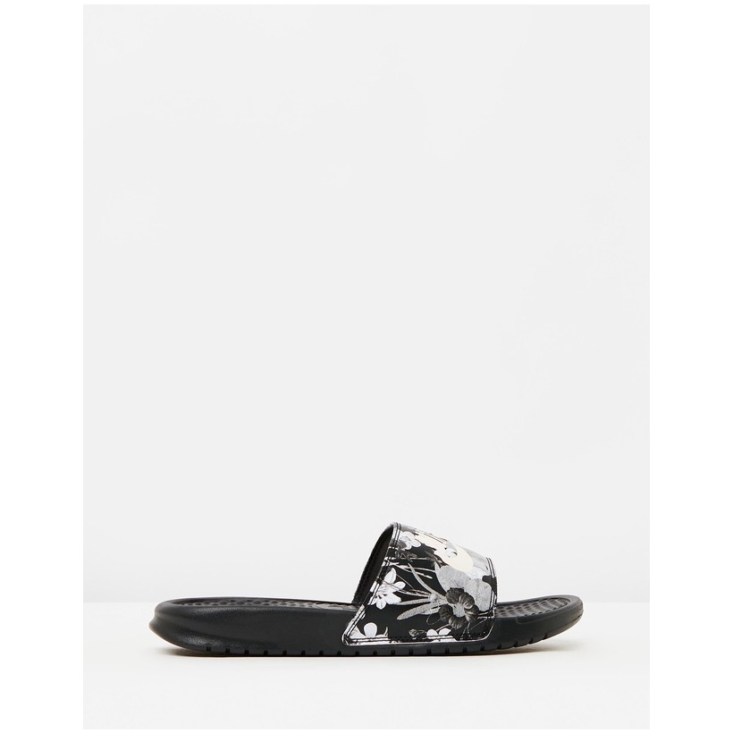Benassi JDI Print - Women's Black & Summit White by Nike