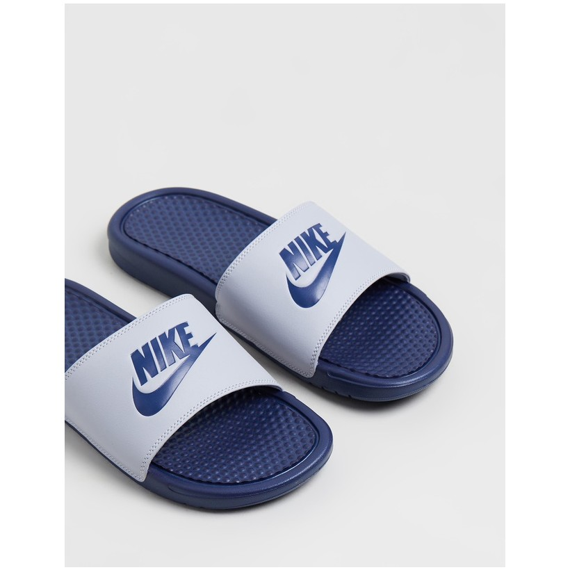 Benassi Just Do It Slides - Men's Wolf Grey & Midnight Navy by Nike