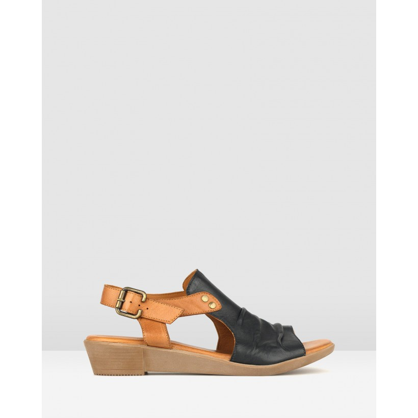Bestie Ruched Leather Sandals Black/Tan by Airflex