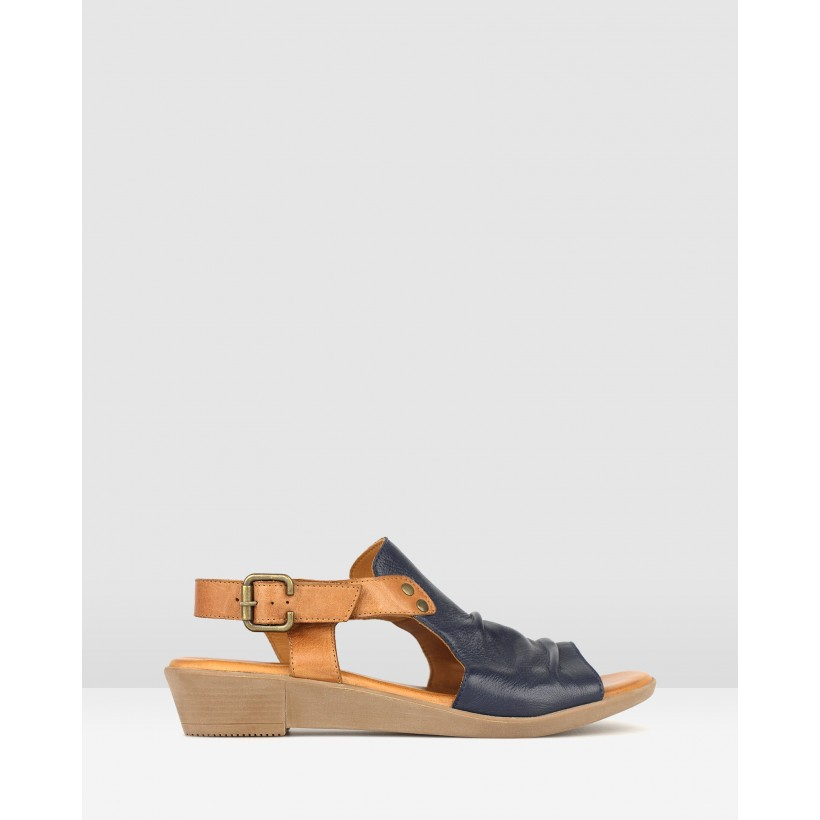 Bestie Ruched Leather Sandals Navy/Tan by Airflex
