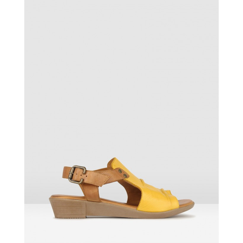 Bestie Ruched Leather Sandals Yellow/Tan by Airflex