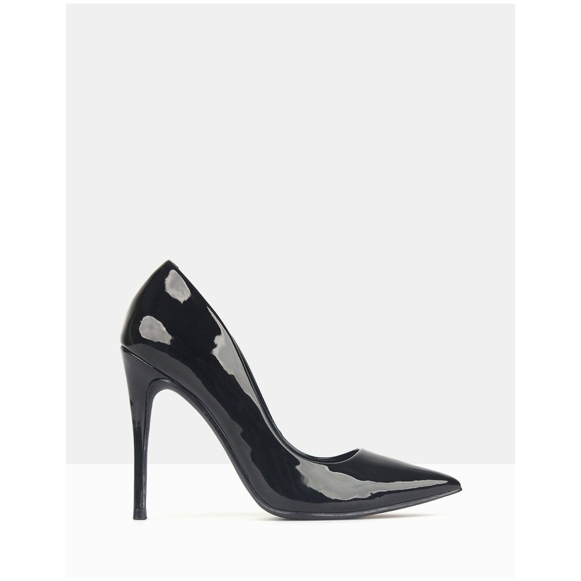 Blossom Patent Stiletto Heels Black Patent by Betts