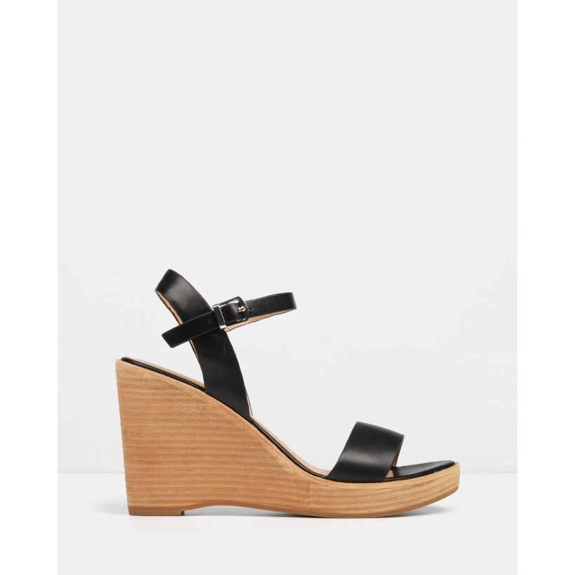 Bora Wedge Sandals Black Leather by Jo Mercer