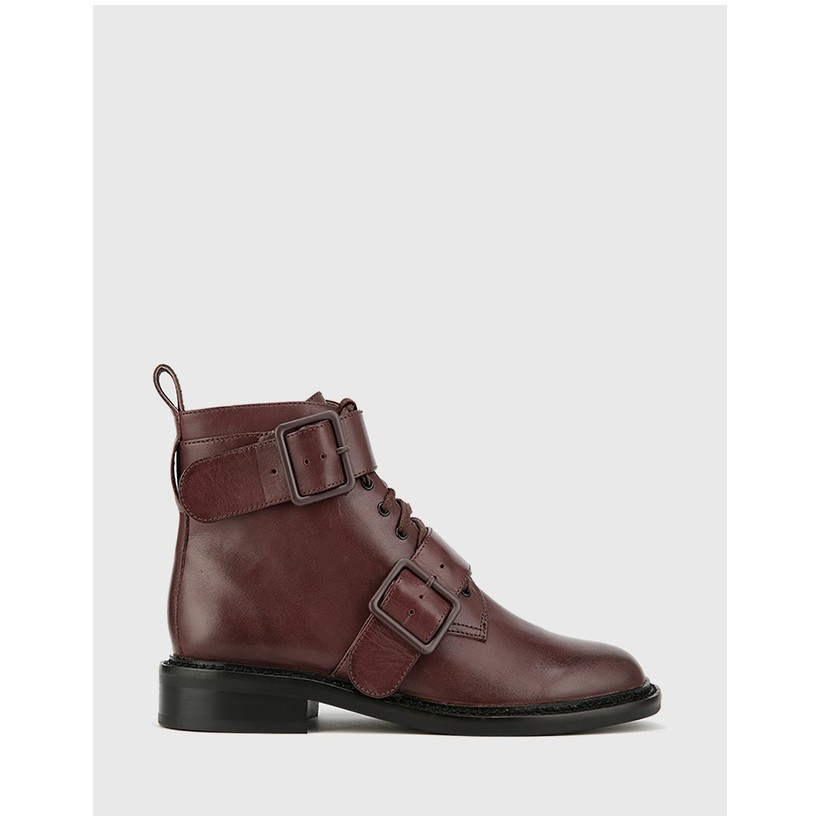 Braiden Lace Up Flat Ankle Boots Red by Wittner