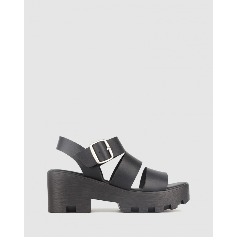 Bratty Platform Sandals Black by Betts
