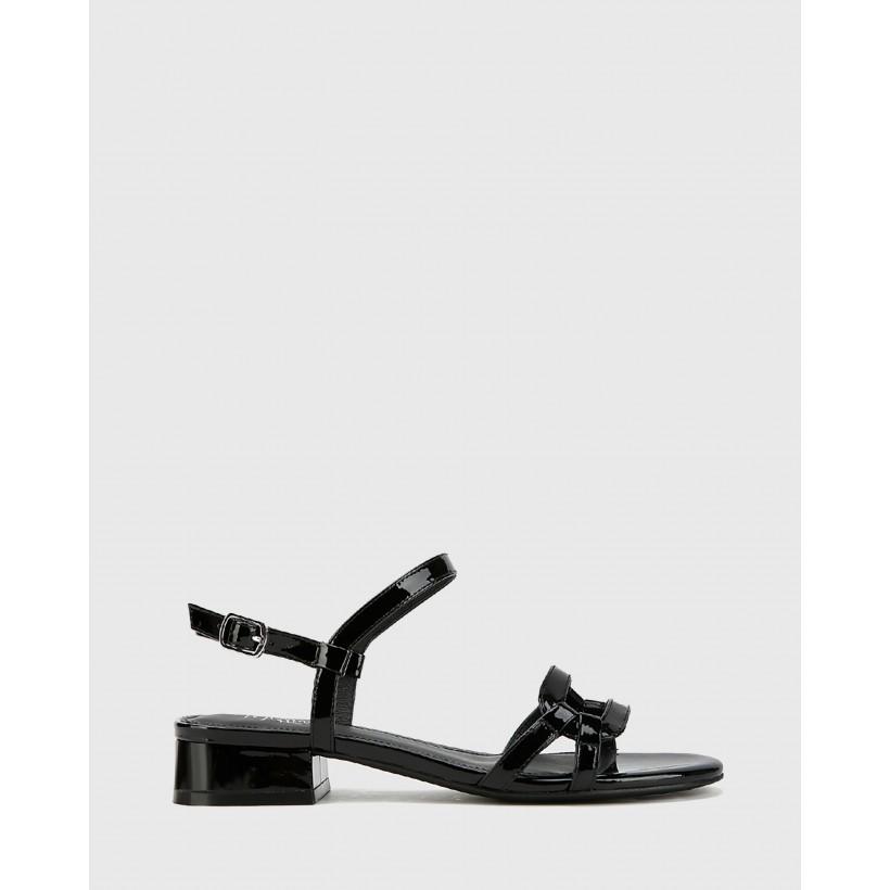 Brigita Patent Leather Block Heel Sandals Black by Wittner