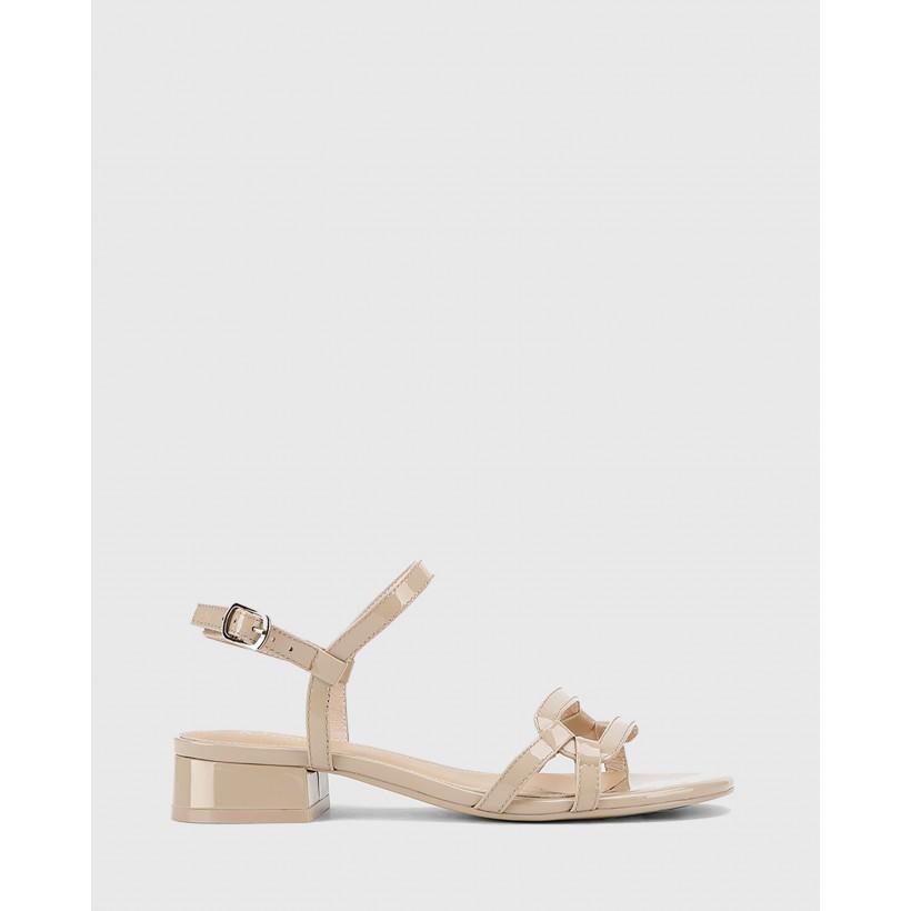Brigita Patent Leather Block Heel Sandals Beige by Wittner