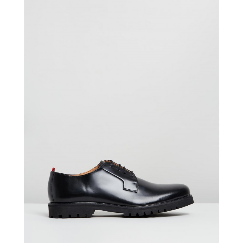 Broadway Shoes Black High-Shine Leather by Oliver Spencer