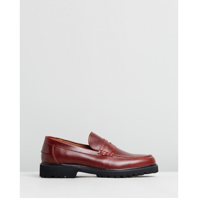 Busan Leather Loafers Burgundy by Double Oak Mills
