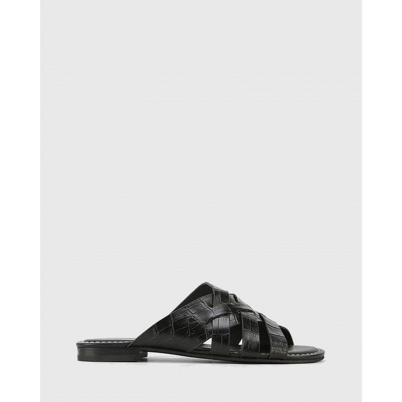Caitlyn Croc Embossed Leather Multi-Strap Slides Black by Wittner