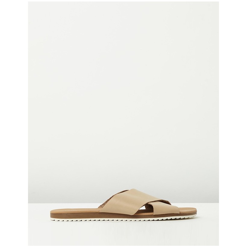 Calista Leather Slides Nude Leather by Atmos&Here