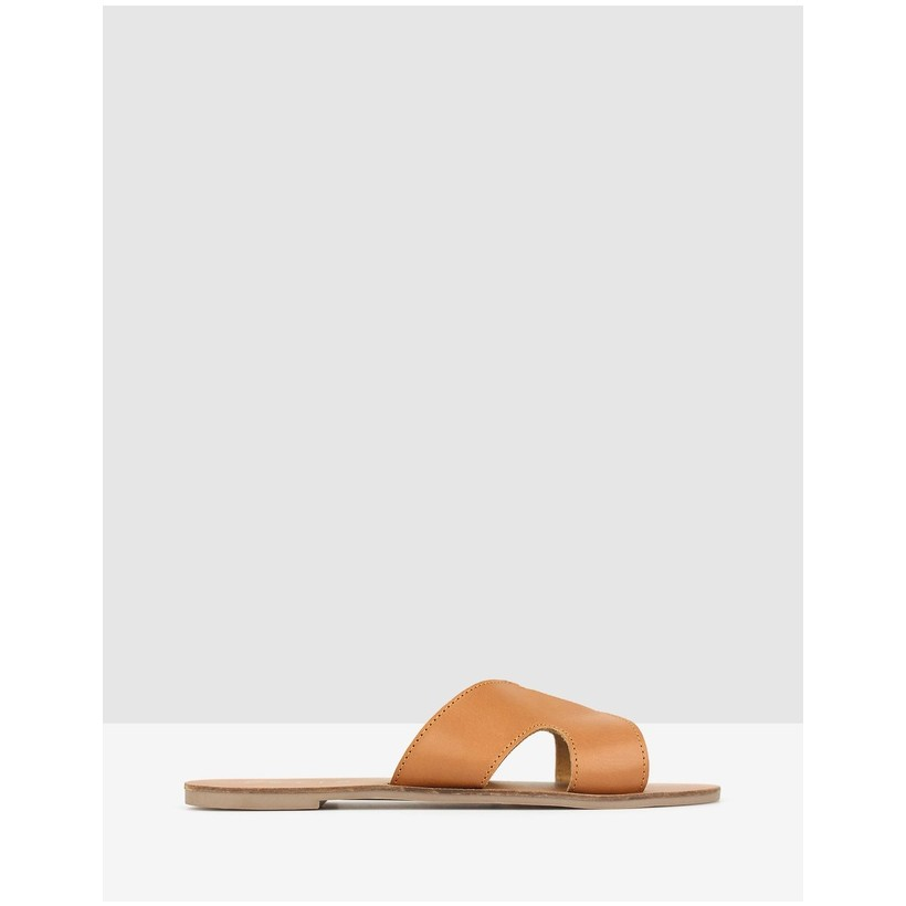 Caprice Cut Out Leather Sandals Tan by Betts
