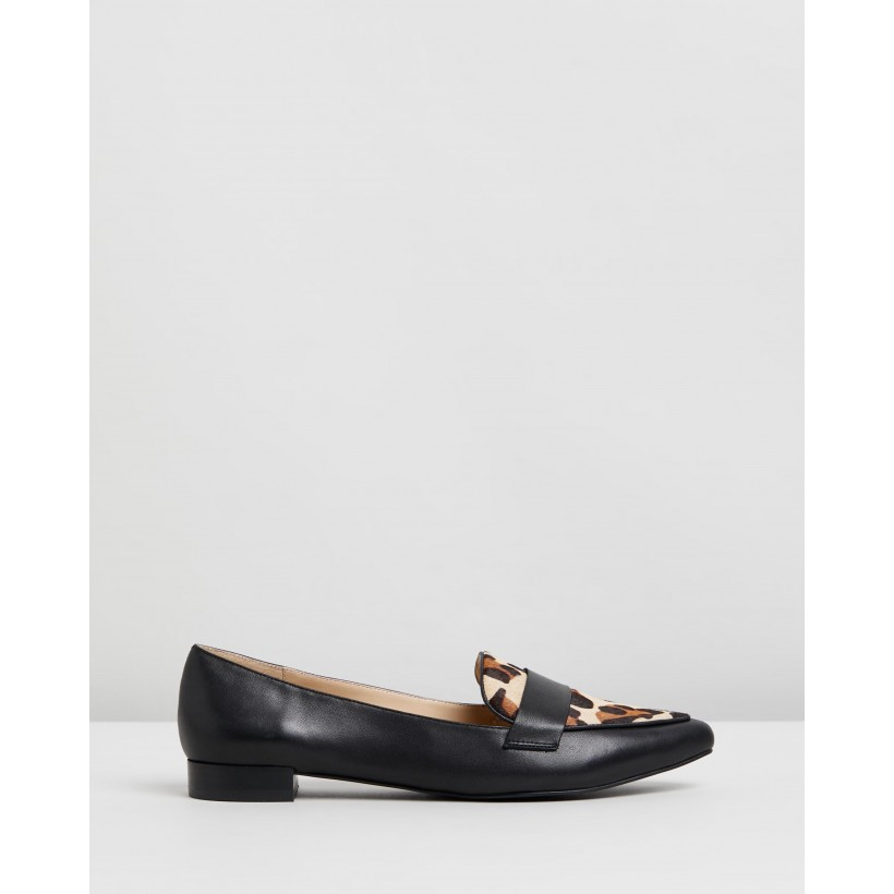 Cara Leather Loafers Black & Leopard Pony by Atmos&Here