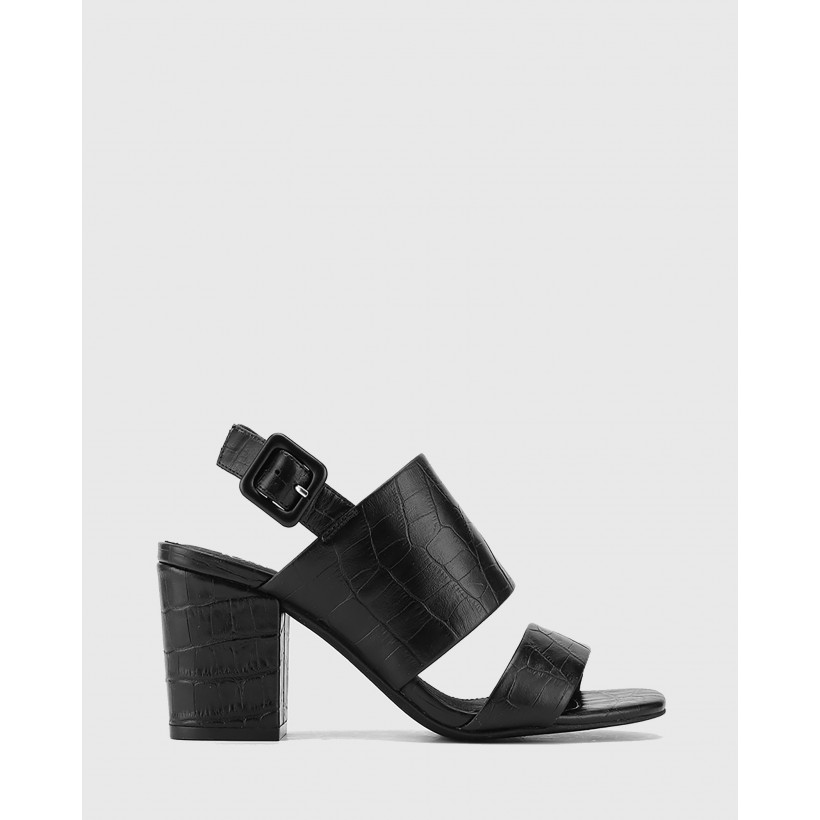Carr Croc Embossed Leather Block Heel Sandals Black by Wittner